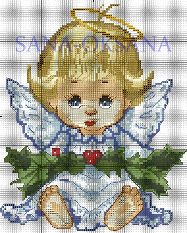Звездный ангел схема вышивки крестом 52