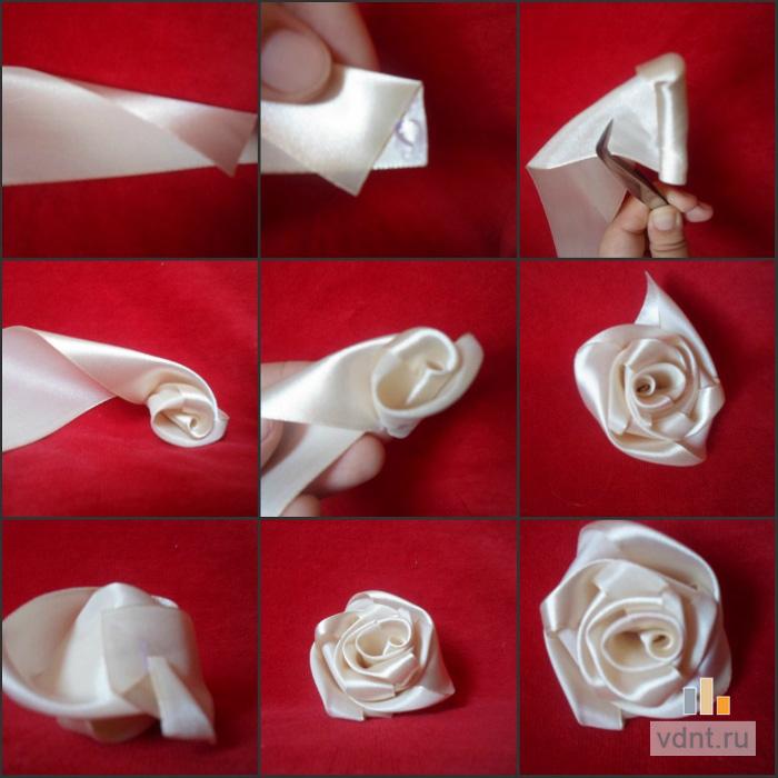 Розы сделанные своими руками из атласной ленты 29
