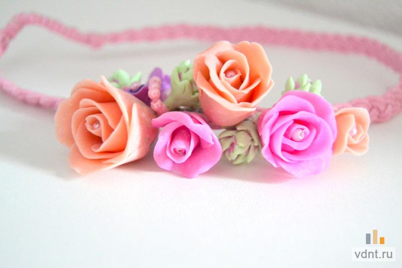 Открытка с цветами из полимерной глины