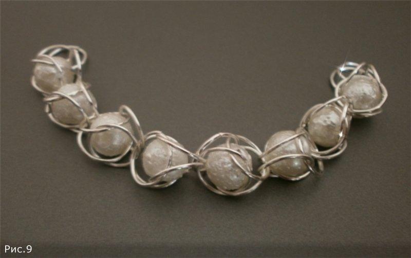 Кольчужное плетение с бусинами браслетов из