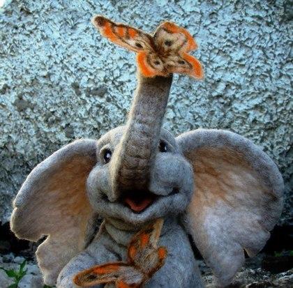 Авторская игрушка ручной работы. Сухое валяние - слон