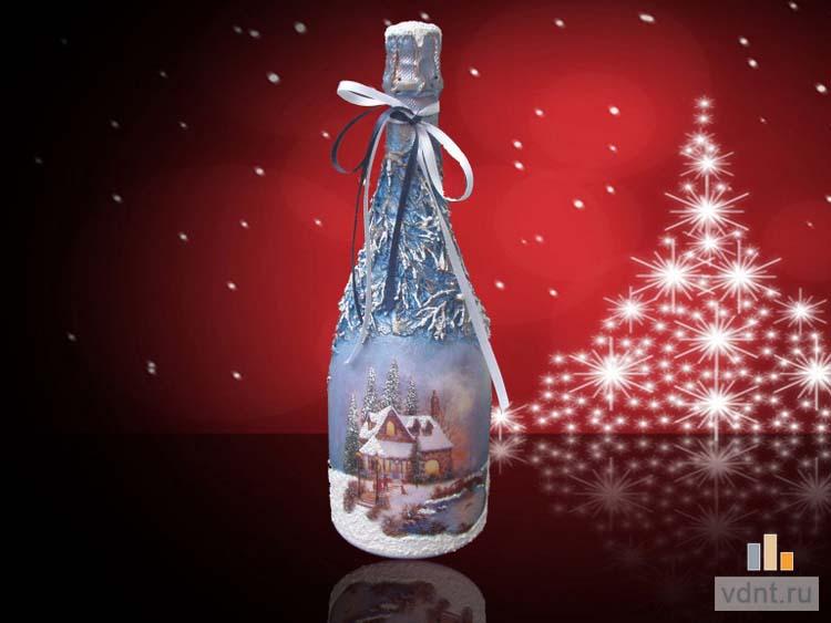 Новогодний декупаж шампанского мастер класс