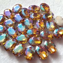 Стразы овальные радужные цвет янтарный (14)