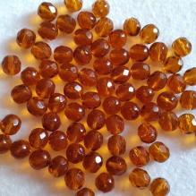 Чешские граненые бусины янтарные 8 мм