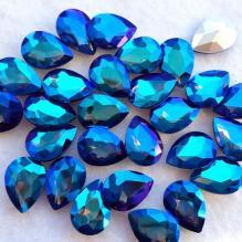 Стразы капли 18х13 мм радужные цвет кобальт