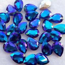 Стразы капли 18х13 мм радужные фиолетово-синие