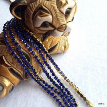 Стразовая лента синяя