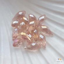 Бриолеты - стеклянные бусины-капли розовые AB