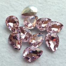 Кристаллы - капли стеклянные 18х13 мм (розовые)