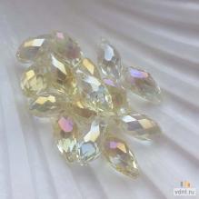 Бриолеты - стеклянные бусины-капли желтые AB