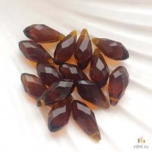 Бриолеты - стеклянные бусины-капли коричневые