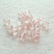 Бусины - кубики граненые светло-розовые
