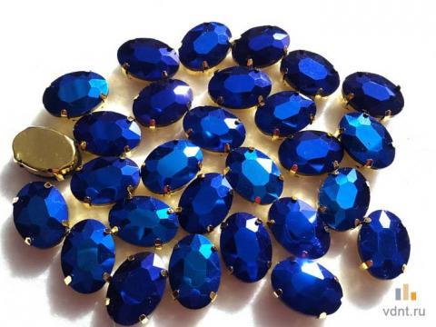 Стразы овальные радужные цвет фиолетово-синий (11)