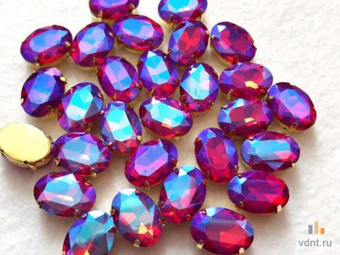 Стразы овальные радужные цвет гиацинт (7)