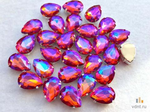 Стразы капли 18х13 мм радужные цвет гиацинт