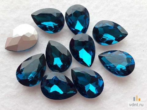 Кристаллы - капли стеклянные 18х13 мм (цвет морской волны)